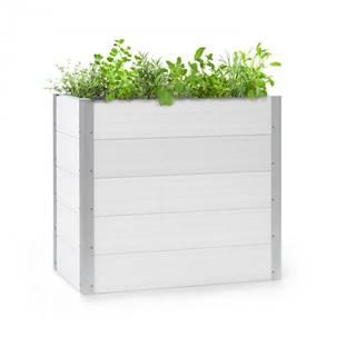 Blumfeldt Nova Grow, záhradný záhon, 100 x 91 x 50 cm, WPC, drevený vzhľad, biely